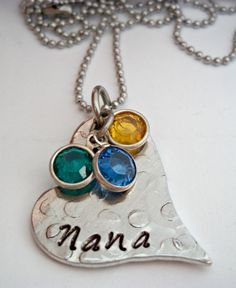 Mothers Necklace Grandma Necklace Nana Grammy Geema Hand Stamped Jewelry Gift for Mom Mothers Day. $28.00, via Etsy.