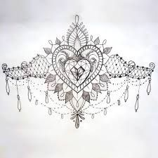 Image Result For Lace Garter Drawing Pattern Brustbein Tattoo Design Bauch Tattoos Herz Tattoos