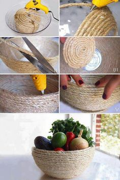 useful crafts for the home | You can also make simple basket by wrapping rope around glass pot with ...