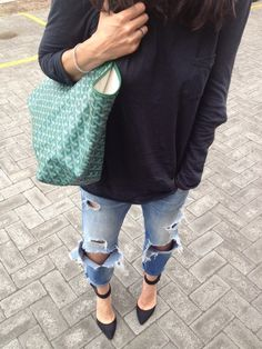 ripped jeans/heels