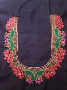 Peacock Blouse Designs, Peacock Embroidery Designs, Kids Blouse Designs, Simple Blouse Designs, Blouse Neck Designs, Hand Designs, Machine Embroidery Designs, Hand Embroidery, Hand Work Blouse Design