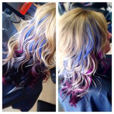 Blonde hair with purple and blue peek-a-boos
