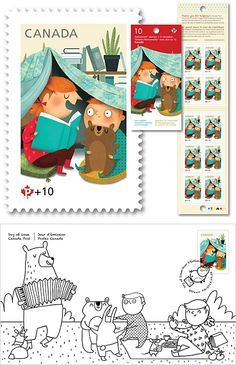 Marie-Eve Tremblay / Canada Post Post Canada felled in love and opted for the innocence of Marie-Eve Tremblay's sweet universe for its stamps campaign for Canada Post Community Foundation. Designed with Lionel Gadoury of Context Creative agency, the stamp of this year represents the extraordinary power of tales and the delight of imagination. Buy online to help the foundation.
