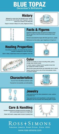 Happy Birthday December Babies- Learn more about your Blue Topaz birthstone in this infographic. -jewelry -RossSimons