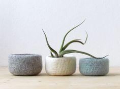 Felted wool bowls / light grey, white, grey green / minimalist home decor…