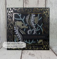 6x6 card made using Delicate details foil transfers, gold foil, Under the sea Colorista Dark pad & Green, silver & gold metallic pencils. Created by Donna Mosley #crafterscompanion #spectrumnoir