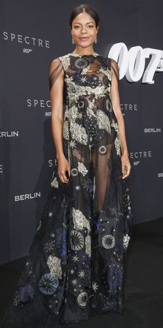 Naomie Harris's premiere look for the Spectre premiere in a celestial-themed embroidered sheer Valentino design.