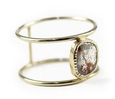 Diamond Slice Duble Ring Gold Ring Rose Cut Diamond by Tulajewelry