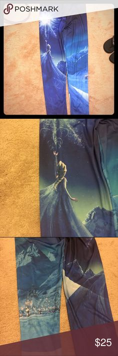 Frozen - Elsa leggings! Women's XL ❄️ Beautiful design! Perfect for any frozen fan! Size XL women's. Super comfy material! Elsa design on front, castle/village design on back. These are so fun! Only worn once. ❄️⛄️ no trades, I only sell through posh! ❄️ Disney Pants Leggings