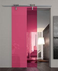 porte coulissante en plexi fluo dans un intérieur blanc et gris <3 Model Logika by Adielle Porte