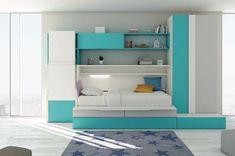 Combina las habitaciones con pequeños toques de azul turquesa en las cajoneras…