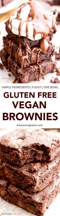 Gluten Free Vegan Brownies (V+GF): a one bowl recipe! If you're looking for that vegan perfect recipe for brownies, look no further! These are amazingly moist and are animal free! Brownie Sans Gluten, Vegan Gluten Free Brownies, Sans Gluten Vegan, Dessert Sans Gluten, Vegan Gluten Free Desserts, Vegan Brownie, Dairy Free Recipes, Paleo, Brownie Desserts