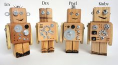 Wooden Robots! Attach gears, bolts, washers, screws, etc. Burn in details.  Arms can move.