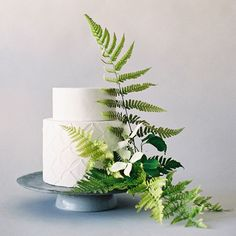 Go Green With These Wedding Cakes Decorated with Fresh Ferns   Brides.com