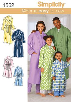 Simplicity Pattern 1562A Adult & Children\u0027s Robes-Size XS-L/XS-XL,