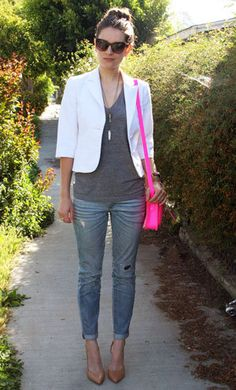 Neon Bag Street Style. Pink, Tan, White with Jeans