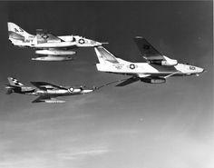 VAH-5 A3D from USS Forrestal CVA-59 refuels a Royan Navy 803 Sqn Scimitar and VA-83 A-4D-2 ca 1962