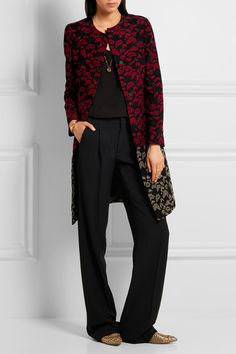Black, red and taupe jacquard Concealed snap fastenings through front 40% wool, 32% silk, 18% polyester, 10% polyamide; lining: 56% acetate, 44% viscose Dry clean Made in Italy