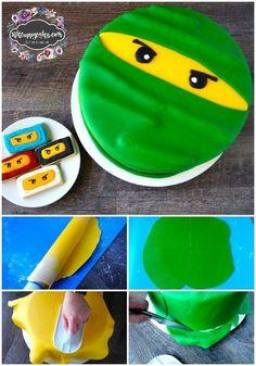 How to make a Lego Ninjago Birthday Cake, fondant decorating for beginners, Ninjago cake decorating ideas, Ninjago cake tutorial, Lego Ninjago, Easy Lego Ninjago Cake