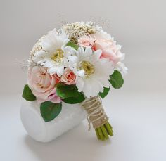 Wedding Bouquet - Pink Roses, Green Berries, Leaves, White Gerbera Daisies, Queen Anne's Lace, Babys Breath, Vintage, Cottage, Bride by blueorchidcreations on Etsy