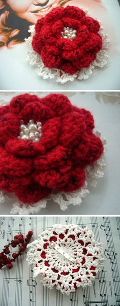 Crochet Red Cashmere and White Cotton Flower Corsage Brooch Christmas Gift…