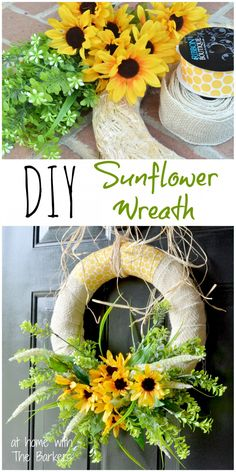 Summer Sunflower Wreath - At Home With The Barkers - pretty for a front door!