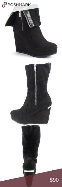 "LAST‼️JUICY COUTURE Black Platform Wedge Boots 🎉HP🎉NWT JUICY COUTURE Black fold-over platform wedge boots with matching black faux-shearling lining & fold-over shaft, are sure to get noticed! Amazing as you can wear them completely zipped, or fold over to fit the look of any outfit! *Faux-shearling lined *Microsuede upper *TPR outsole *Silver tone hardware & ""couture"" plate on heel *Round toe *Zip closure *Padded footbed *4-in. heel *1-in. circumference  *Bundle Discounts*No Trades*Smoke…"