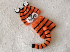 Hand Knitted Baby HAT and  DIAPER COVER, Tiger Baby Beanie and matching diaper knitted baby beanie Newborn Knitted Baby Hat Animal hat by CottonPickings on Etsy