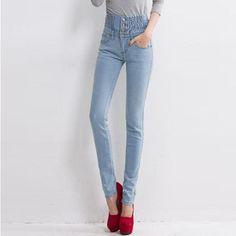 6ad43416219e8 Plus Size 40 Woman Jeans Lady Fat Trousers Jeans Womens High Waist Elastic Skinny  Denim Long