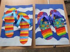 slippers for the summer - crafts, back to school - Schule Spring Art, Summer Art, Summer Crafts, Crafts For Kids, Arte Elemental, Classe D'art, 3rd Grade Art, School Art Projects, Kindergarten Art