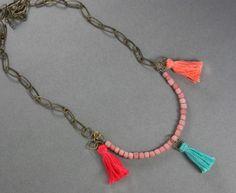 DIY Necklace  : DIY Make a Boho Necklace with Tiny Tassels