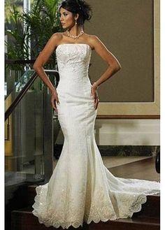 Beautiful Elegant Tulle Sheath Strapless Wedding Dress In Great Handwork W2531