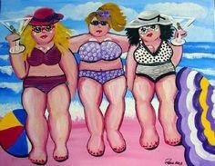 3 Large Beach Divas Fun Folk Art Giclee Print by reniebritenbucher