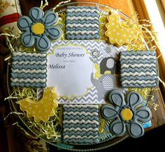 Grey and Yellow Baby Shower Decorated Sugar Cookies