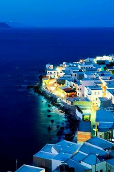Nisyros Island at night, Greece Places Around The World, Oh The Places You'll Go, Places To Travel, Places To Visit, Around The Worlds, Santorini, Mykonos Greece, Patras, Samos