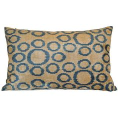 Cemile 16x24 Silk-Blend Pillow Blue Decorative Pillows ($132) via Polyvore featuring home, home decor, throw pillows, blue home decor, blue throw pillows, ikat throw pillows, blue home accessories and blue accent pillows