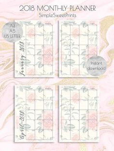 2018 monthly planner inserts on Etsy!