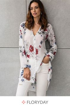 Floral casual V-neckline long sleeve blouses, women tops, preorder. Floral casual V-neckline long sleeve blouses, women tops, preorder. Short Kurti Designs, Kurta Designs Women, Blouse Designs, Ladies Dress Design, Women's Fashion Dresses, Chiffon Tops, Trendy Outfits, Blouses For Women, Ideias Fashion