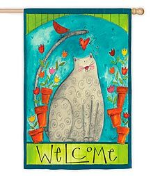 Colorful Cat Garden Flag sends a fantastic feline welcome.