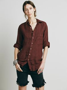 Free People x CP Shades Stripe Boyfriend Shirt at Free People Clothing Boutique