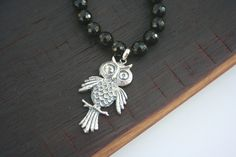 Are you an OWL LOVER? Sterling Silver Owl Pendant on Black Onyx by on Etsy Owl Pendant, Pendant Necklace, Heart Jewelry, Unique Jewelry, Semi Precious Gemstones, Black Onyx, Swarovski Crystals, Beading, Hearts