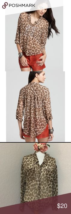 🌟FREE PEOPLE EASY RIDER ANIMAL PRINT🌟 In GOOD CONDITION NO STAINS NO HOLES! Free People Tops Button Down Shirts