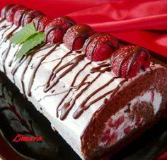 Limara péksége: Epres- mascarpone krémes piskótarolád