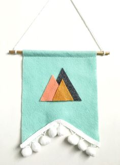 Fun mint, charcoal gray, coral and marigold Mountain banner. Perfect for any girls or boys nursery, little girls or boys room, any office or