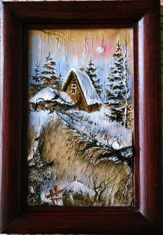 Портфолио. Береста.Картина на бересте. Авторская картина,оригинальный подарок. На дачу - великолепно !