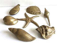 Lot of vintage brass seashells