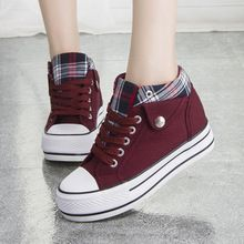 Fashion Increased Canvas Lace Up Plaid Sneakers from Shoes P.- Fashion Increased Canvas Lace Up Plaid Sneakers from Shoes Party - Moda Sneakers, Sneakers Mode, Sneakers Fashion, Fashion Shoes, Shoes Sneakers, Canvas Sneakers, Women's Shoes, Girls Sneakers, Fall Shoes