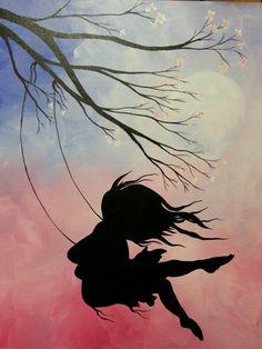 Image in Admin's images album Cute Wallpaper Backgrounds, Galaxy Wallpaper, Cute Wallpapers, Painting Wallpaper, Painting & Drawing, Silhouette Art, Anime Art Girl, Belle Photo, Love Art