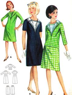 1960s Dress Pattern Butterick 3620 Mod Collared Shift Dress or Skirt and Blouse Womens Vintage Sewing Pattern Bust 32