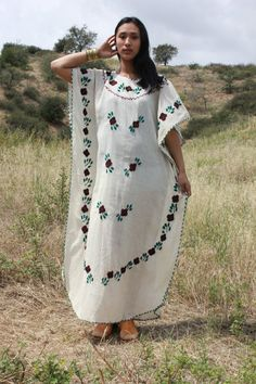 Mexican Resort Bohemian Vintage Hand Embroidered Kaftan by Vdingy, $62.00